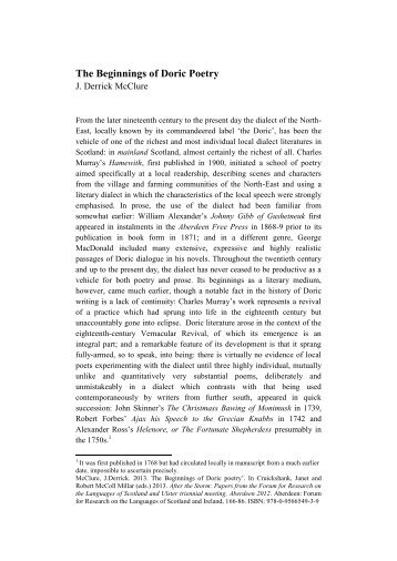 McClure, Beginnings of Doric Poetry.pdf - University of Aberdeen