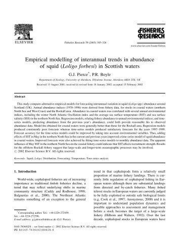 Empirical modelling of interannual trends in abundance of squid ...