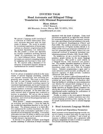 Head Automata and Bilingual Tiling: Translation with Minimal ...