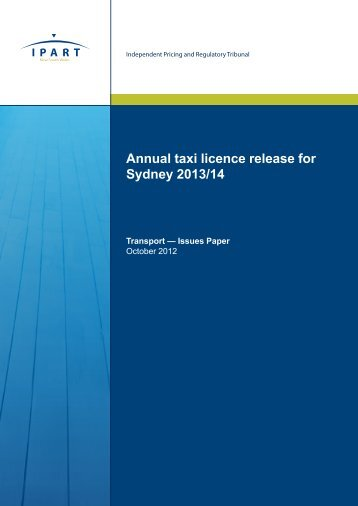 Annual taxi licence release for Sydney 2013/14 - IPART - NSW ...