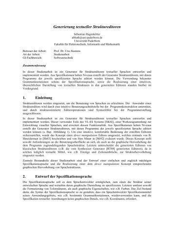 Generierung textueller Struktureditoren - AG-Kastens - Universität ...