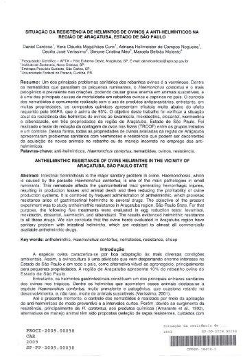 SITUAÇÃO DA RESISTÊNCIA DE HELMINTOS ... - Ainfo - Embrapa