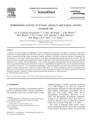 Anthelmintic activity of Croton zehntneri and ... - Ainfo - Embrapa