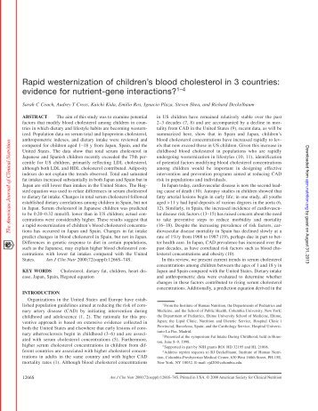 Rapid westernization of children's blood cholesterol in 3 countries ...