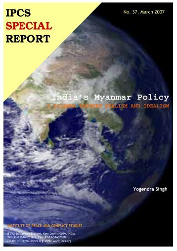 India's Myanmar Policy - Institute of Peace and Conflict Studies
