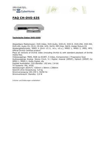 FAQ CH- DVD 635S