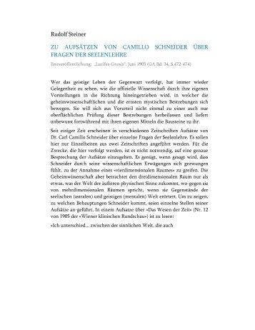 Zu Aufsätzen von Camillo Schneider über Fragen der Seelenlehre