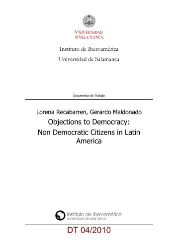 Objections to Democracy - Instituto de Iberoamerica - Universidad ...