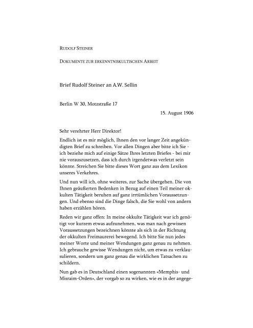 Brief Rudolf Steiners an A. W. Sellin (15. August 1906)