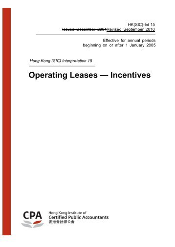 HK(SIC)-Int 15 Operating Leases - Incentives