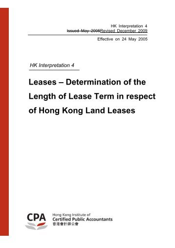 HK-Int 4 Leases - Determination of the Length of Lease Term in ...