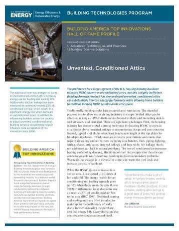 Unvented, Conditioned Attics - U.S. Department of Energy