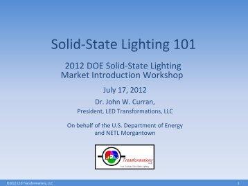 Solid-State Lighting 101 - EERE - U.S. Department of Energy