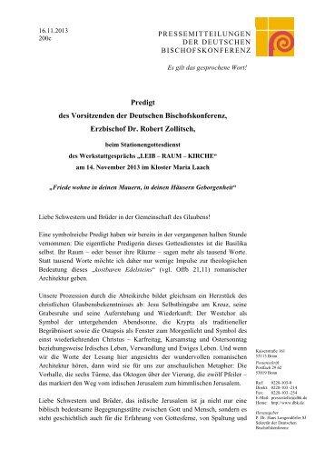 14.11.2013: Predigt des Vorsitzenden der Deutschen ...