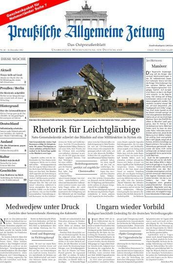 Folge 50 vom 15.12.2012 - Archiv Preussische Allgemeine Zeitung