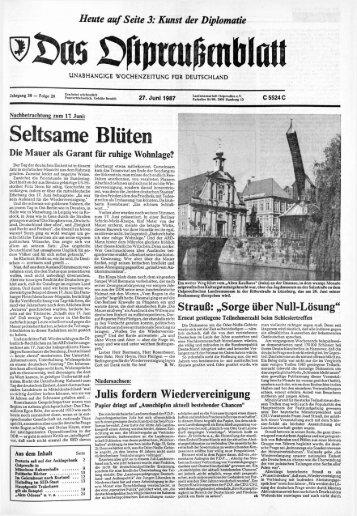 Folge 26 vom 27.06.1987 - Archiv Preussische Allgemeine Zeitung