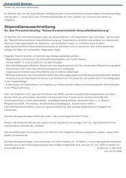 Stipendienausschreibung - IPP - Universität Bremen