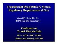 Transdermal Drug Delivery System Regulatory Requirements (USA)