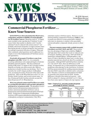 Commercial Phosphorus Fertilizer…Know Your Sources