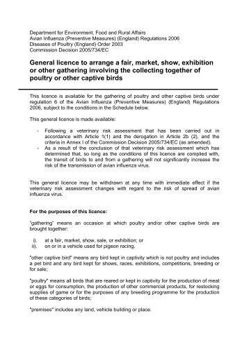 General licence to arrange a fair, market, show ... - ARCHIVE: Defra