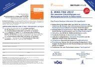 6. WAG-TAG 2013 Die neuesten Entwicklungen zur ... - Kitzler Verlag