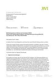 BVI Position zum Entwurf einer Kapitalanlage-Verhaltens