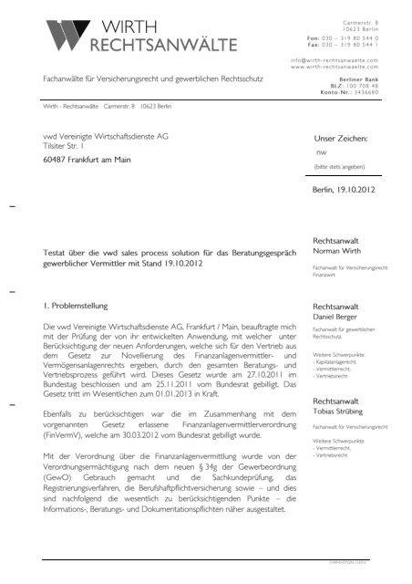 Briefkopf Rechtsanwalt Norman Wirth Vwd