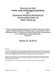 Preis- und Leistungsverzeichnis - Sparkasse Marburg-Biedenkopf