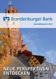 Geschäftsbericht für das Jahr 2012 - Brandenburger Bank