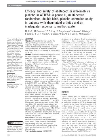 Efficacy and safety of abatacept or infliximab vs placebo in ATTEST ...