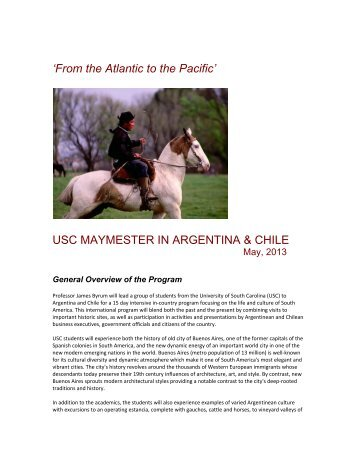 USC MAYMESTER IN ARGENTINA & CHILE - College of Arts and ...