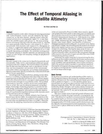 The Effect of Temporal Aliasing in Satellite Altimetry - asprs