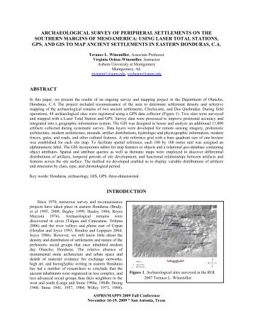 archaeological survey of peripheral settlements on the ... - asprs