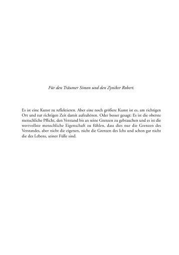 Für den Träumer Simon und den Zyniker Robert. - Asaro Verlag