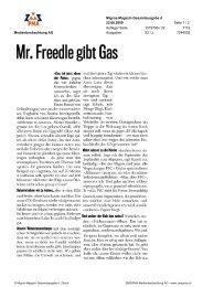 Mr Freedlegibt Gas - WWF Schweiz