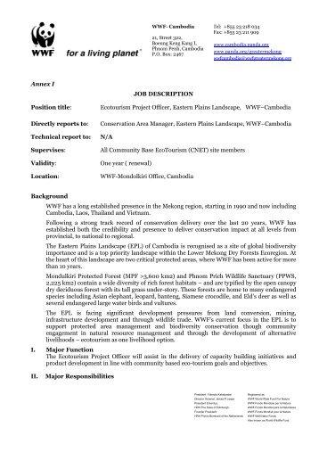Annex I JOB DESCRIPTION Position title: Ecotourism Project Officer ...