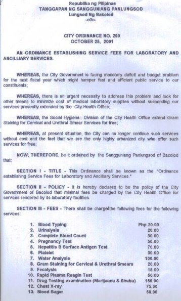 City Ordinance No. 290 - Bacolod City