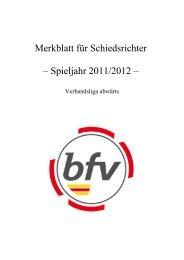 Merkblatt für Schiedsrichter – Spieljahr 2011/2012 –
