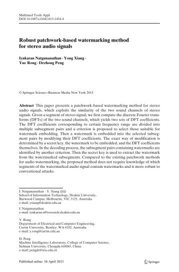 Robust patchwork-based watermarking method ... - Curtin University