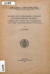 I.Kinetische theorie der autokatalyse und ihre experimentelle prufung