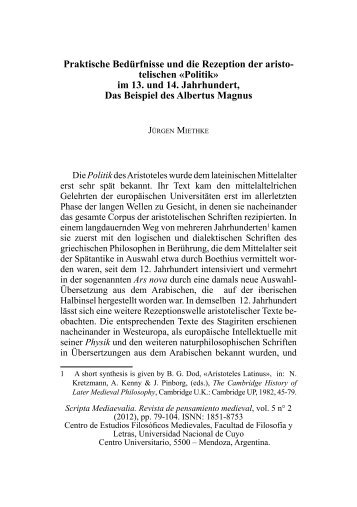 Praktische Bedürfnisse und die Rezeption der aristo - Universidad ...