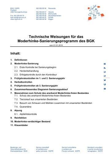 Technischen Weisungen Moderhinke - und Gesundheitsdienst für ...