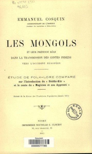 Les Mongols et leur pretendu role dans la transmission des contes ...