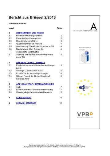 Bericht aus Brüssel 2/2013 - SRL