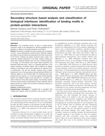 Secondary structure based analysis and classification of biological ...