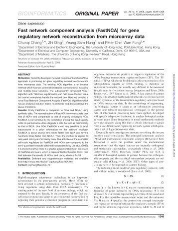 Fast network component analysis (FastNCA) for gene regulatory ...