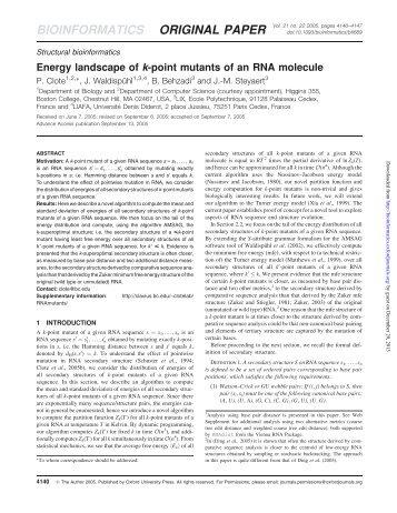 Energy landscape of k-point mutants of an RNA molecule