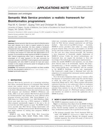 Semantic Web Service provision: a realistic ... - Bioinformatics