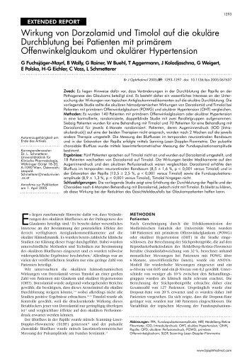 Wirkung von Dorzolamid und Timolol auf die okuläre Durchblutung ...