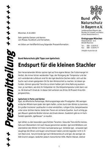 Endspurt für die kleinen Stachler - Bund Naturschutz